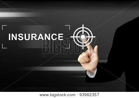 Business Hand Pushing Insurance Button On Touch Screen