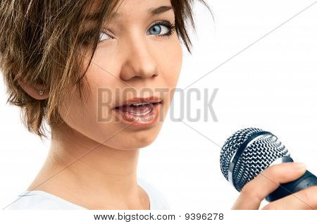 Girl Singing On White Background