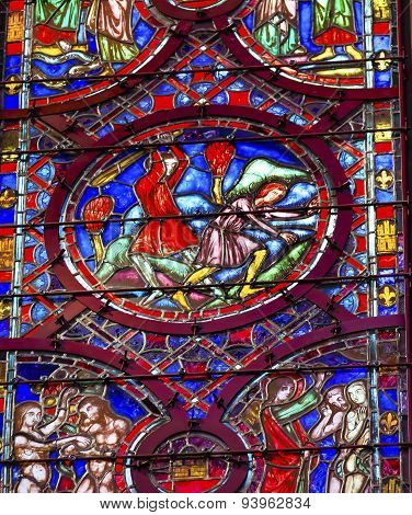 Cain Able Adam Eve Stained Glass Sainte Chapelle Paris France