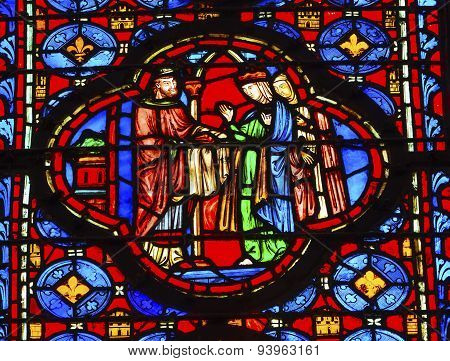 King Queen Stained Glass Sainte Chapelle Paris France