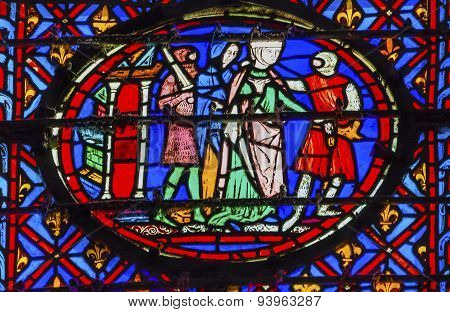 Knights Queen Stained Glass Sainte Chapelle Paris France