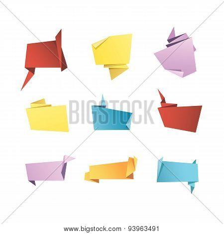 Vector Origami Banner Speech Bubble Paper Set