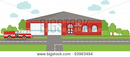 Fire station emergency concept. Panoramic background with fire station building and fire truck in fl