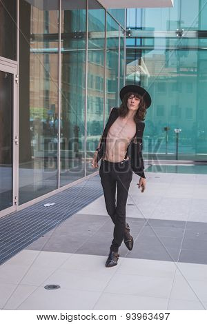 Beautiful Model Outside Costume National Fashion Show Building For Milan Men's Fashion Week
