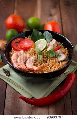 Tom Yum Kung With Noodles, Popular Thai Dish Cuisine