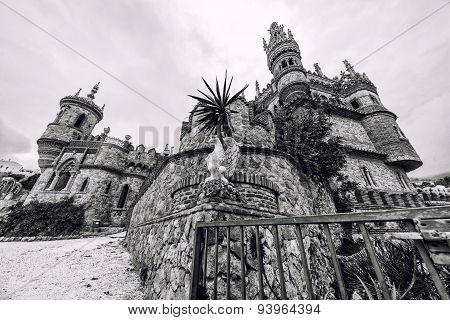 Colomares Castle, Black And White. Benalmadena Town. Spain