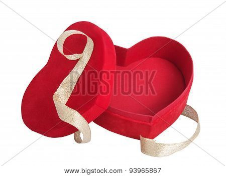 Box Red Heart And Golden Ribbon