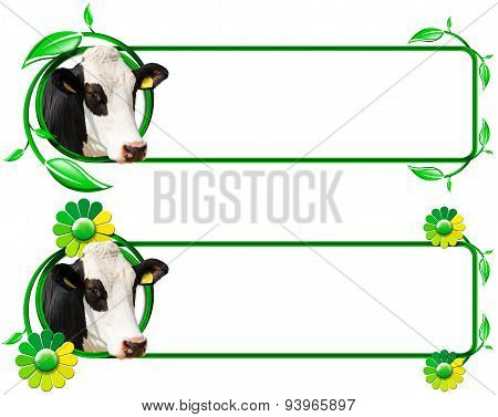 Banners With Head Of Cow Leafs And Flowers