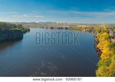 Riverside of the Dnepr River in Zaporizhia city