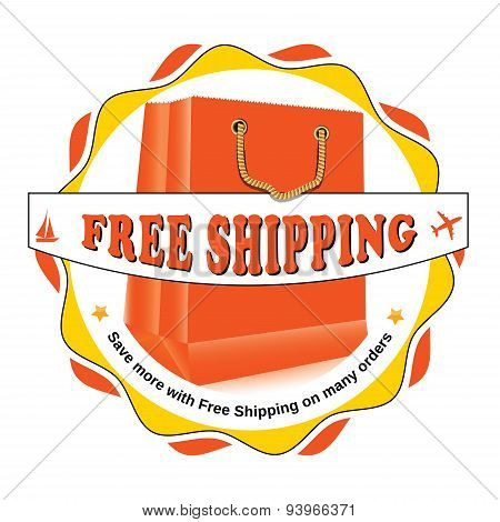 Free shipping orange label, also for print.