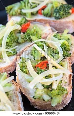 Toasts with broccoli cabbage