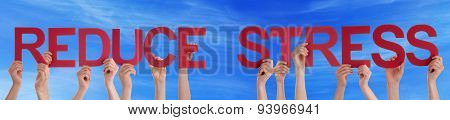 People Hold Straight Word Reduce Stress Blue Sky