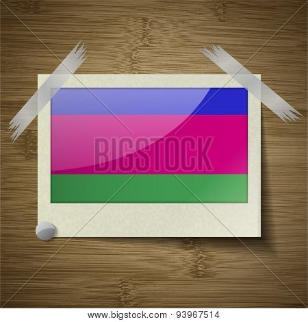 Flags Kuban Republic At Frame On Wooden Texture. Vector