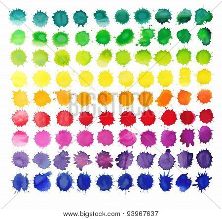 90 colorful watercolor splashes isolated on white background.