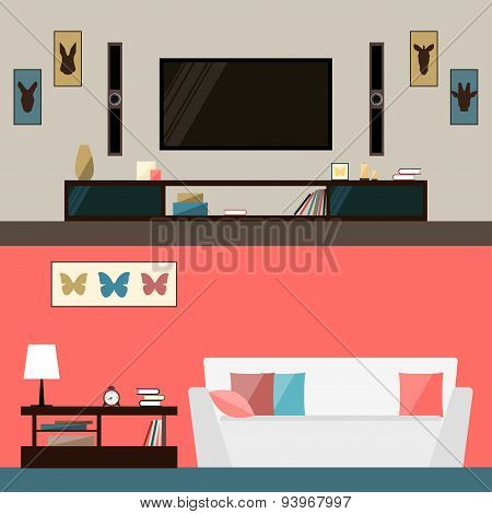 illustration in trendy flat style with room interior for use in design