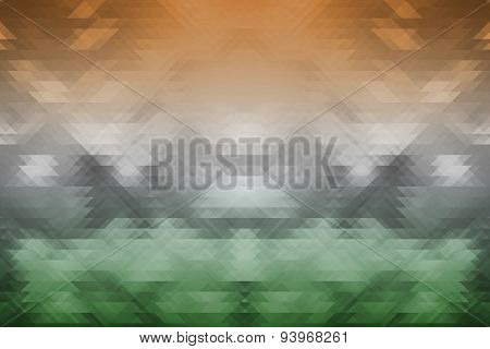 Indian Tricolors On Triangle Geometric Background