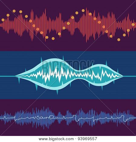 Set of vector music volume waves