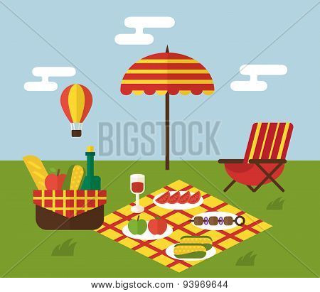 BBQ party. Barbecue and grill cooking. Flat design vector illustration.