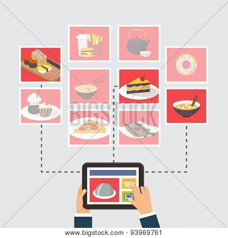 Food delivery, online order or recipe searching, flat design vector illustration