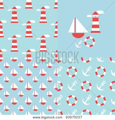 nautical repeating pattern set