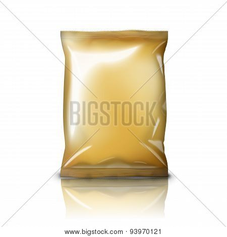 Blank golden realistic foil snack pack isolated on white background. Vector illustration