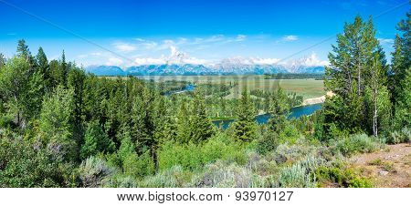 Summer Morning Panorama At Snake River Overlook