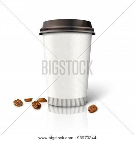 Blank realistic vector paper coffee cup with beans.