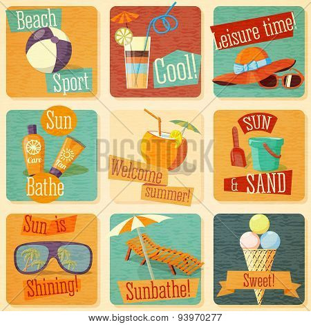 Set of retro stylized summer icons with typographic elements on a grunge background.