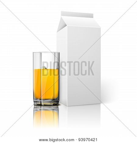 Realistic white blank paper package and glass for juice, milk, cocktail etc. Vector