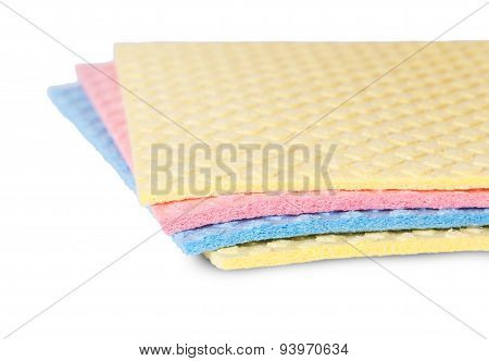 Closeup Multicolored Sponges For Dishwashing Rotated