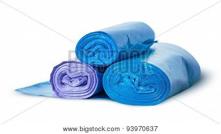 Three Rolls Of Plastic Garbage Bags Rotated