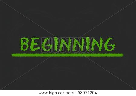 Beginning Green Script On A Black Blackboard