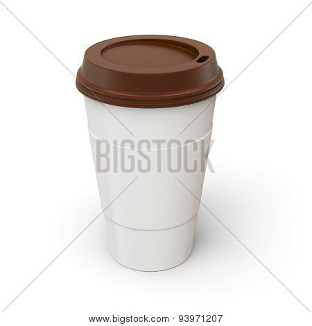 3D Coffee Cup With Brown Lid