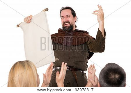 Medieval Man Is Deliver A Speech
