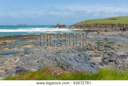 UK rocky coast Newtrain Bay North Cornwall near Padstow and Newquay