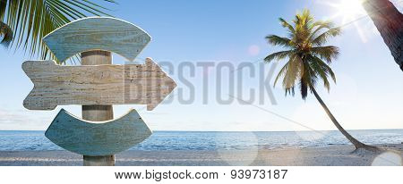 Art Wood Sign On Beach