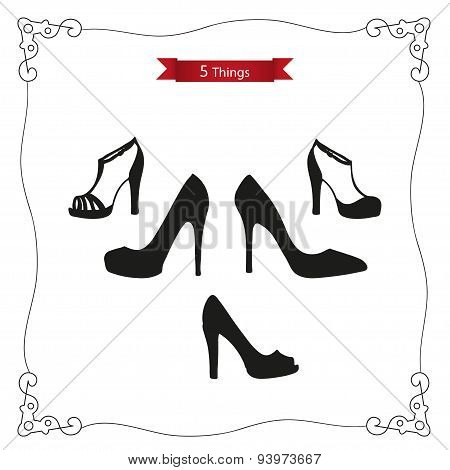 Vector icons of lady's shoes.