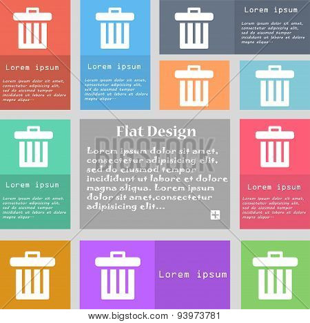 Recycle Bin Icon Sign. Set Of Multicolored Buttons With Space For Text. Vector