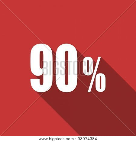 90 percent flat design modern icon with long shadow for web and mobile app
