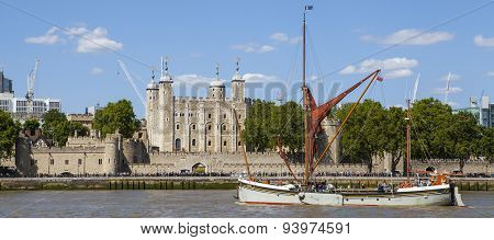 Tall Ship Sailing By The Tower Of London