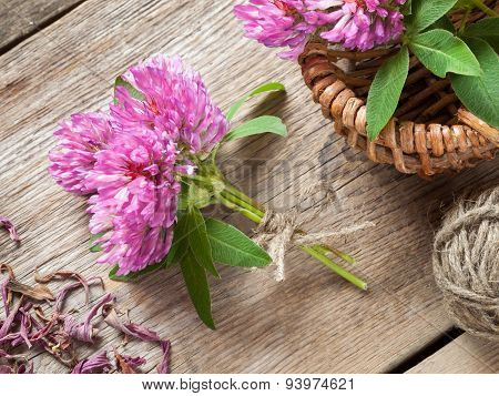 Bunch Of Clover And Basket With Flowers