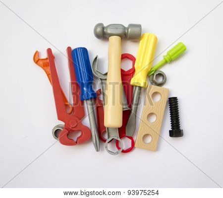 A Lot Of Children's Toy Instruments Gathered In A Pile, Bright Colored