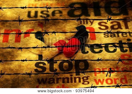 Stop Using Pills Concept Against Barbwire