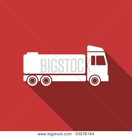 truck flat design modern icon with long shadow for web and mobile app