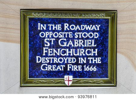 Blue Plaque Marking Site Of St Gabriel Fenchurch