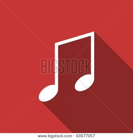 music flat design modern icon with long shadow for web and mobile app