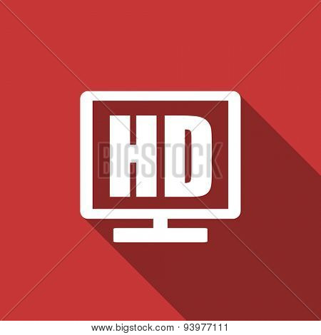 hd display flat design modern icon with long shadow for web and mobile app