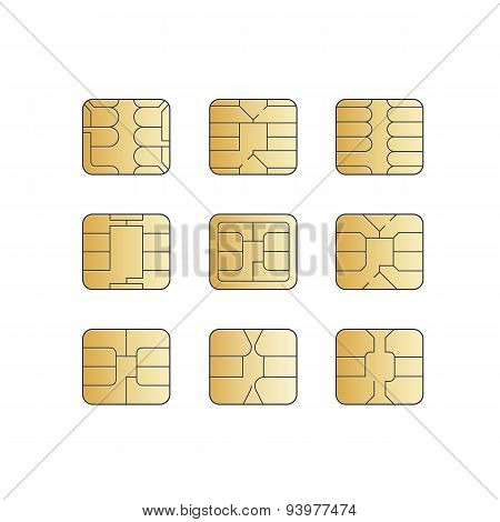 Vector Mobile Cellular Phone Sim Card Chip Set