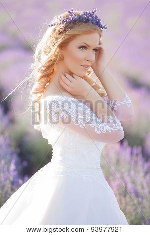 Beautiful Bride in wedding day in lavender field
