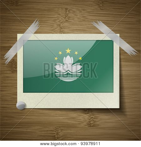 Flags Macau At Frame On Wooden Texture. Vector